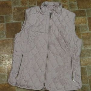 Eddie Bauer Quilted Embroidered Goose Down Vest